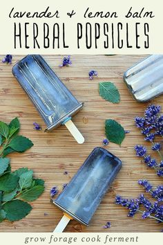These lavender and lemon balm herbal popsicles are a delicious and refreshing way to get the benefit of herbs in the heat of the summer! Lavender And Lemon, Dried Lavender Flowers, Dried Lemon, Growing Lavender, Lemon Balm Recipes, Lemon Balm Uses, Lavender Recipes, Herb Recipes, Soap Recipes