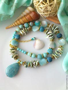 """Купить """"Побережье"""" бусы из натуральных камней. Агат амазонит авантюрин - бирюзовый, мятные бусы"""