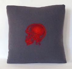 Deb´s red skull pillow!  @Deborah Shavlik Skull Pillow, Red And Teal, Skull And Crossbones, Skulls, Throw Pillows, Toss Pillows, Red And Blue, Cushions, Decorative Pillows