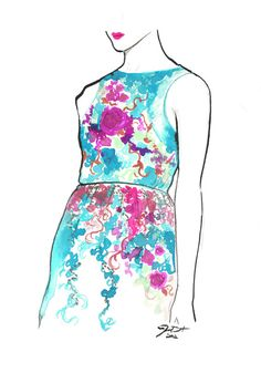 Print from original watercolor fashion illustration by Jessica Durrant titled, Garden Party No. 2