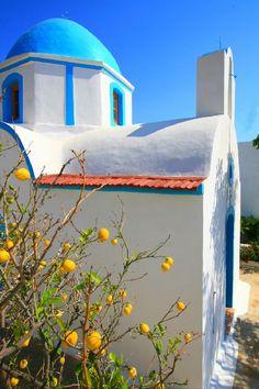 Chapel and lemon tree, Lipsi island,Greece Mykonos, Santorini Villas, Greece Girl, Karpathos, Living In Europe, Chapelle, Greece Travel, Travel Europe, Crete