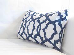 Navy Blue Lumbars Lumbars Navy Lumbar Trellis by FineFreshDesign Chair Pillow, Couch Pillows, Throw Pillows, Pillow Inserts, Pillow Covers, Navy And White, Navy Blue, Green Pillows, Trellis