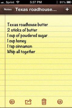 or Texas Roadhouse butter butter, coconut sugar + cornstarch, honey, cinnamon Copycat Recipes, Sauce Recipes, New Recipes, Bread Recipes, Cooking Recipes, Favorite Recipes, Recipies, Texas Roadhouse Butter, Texas Roadhouse Sweet Potato Recipe