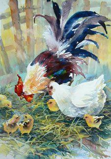 garnituur voor het huizeke (chicken, water colour, Hühnchen, Aquarell)