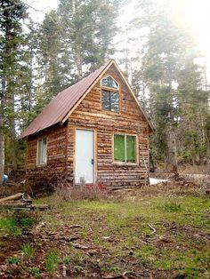 Tiny Log Cabin with a Tall Sleeping Loft