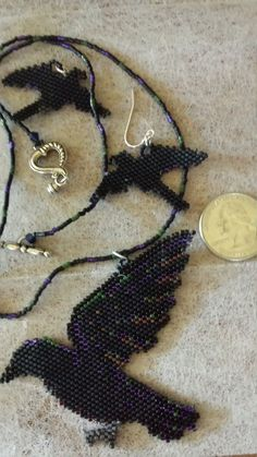 Hand Beaded Raven /Crow In Flight Necklace and Earrings Set