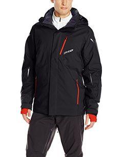 Spyder Men's Chambers Jacket, Black/Black/Volcano, XX-Large * Visit the image link more details.