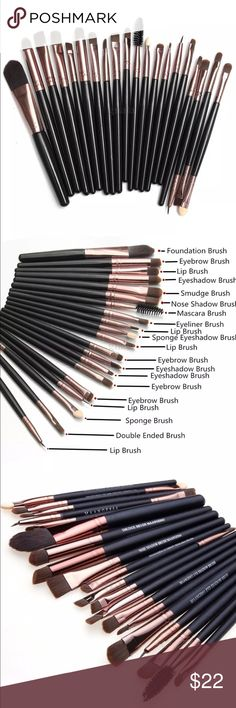20 PC Makeup Brush Set 20 Piece makeup brush set. Picture 2 describes each of the brushes in the set. Available in black/ silver, black /gold, red, white, blue, pink, purple, and tan. Makeup Brushes & Tools