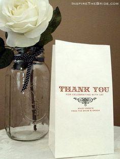DIY Wedding Favor Bag of Sweets - We could do a self-service candy bar wedding favor set up!