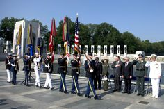 A Joint Service Color Guard presents the colors during the Memorial Day Commemoration Ceremony at the National World War II Memorial in Washington, D.C. (Department of Defense photo by Mass Communication Specialist 1st Class Chad J. McNeeley/Released)