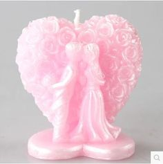 Molde de Silicone Casal de Noivos com Coração 3D (aprox. 5 x 4 x 6cm) para Velas, Sabonetes