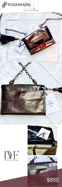 NWT•Diane von Furstenberg NEW • \\DVF// Metallic leather chain mini bag• Diane von Furstenberg Bags Crossbody Bags