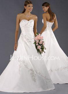 Wedding Dresses - $147.59 - A-Line/Princess Sweetheart Chapel Train Satin Wedding Dresses With Embroidery  Ruffle (002011510) http://jenjenhouse.com/A-line-Princess-Sweetheart-Chapel-Train-Satin-Wedding-Dresses-With-Embroidery--Ruffle-002011510-g11510