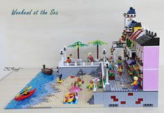 Weekend at the Sea Lego Beach, Lego Display, Legos, Lego Ideas, Sandro, Bricks, Creative, Diys, Street