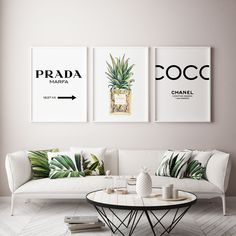 Coco Chanel Pineapple Inspired Art | Tropical Framed Wall Art