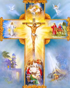 Catholic Pictures, Pictures Of Jesus Christ, Christian Artwork, Christian Pictures, Holy Cross, Jesus On The Cross, Image Jesus, Cross Pictures, Stained Glass Church