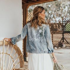 Custom, jean jacket for bride - River and Indie rose corner embroidered denim jacket, from $160, Etsy - See more bridal jackets on WeddingWire! Denim Wedding, Wedding Jacket, Wedding White, White Bridal, Bridal Hat, Pearl Bridal, Custom Leather Jackets, Popped Collar, Embroidered Denim Jacket