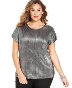 NY Collection Plus Size Short-Sleeve Metallic Blouse - Tops - Plus Sizes - Macy's