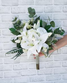 Lilly Bouquet Wedding, Silk Bridal Bouquet, Silk Wedding Bouquets, Hand Bouquet, Bouquet Toss, Peonies Bouquet, Bride Bouquets, Bridesmaid Bouquet, Wedding Flowers