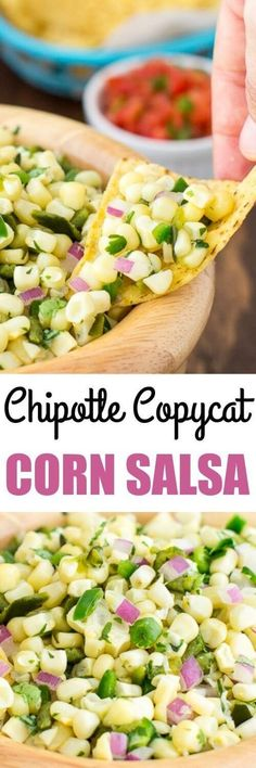 A sweet salsa with medium heat, copycat Chipotle Corn Salsa recipe has two chilis (one of them roasted!) and plenty of fresh corn for maximum flavor.(Dinner Recipes For Two) Chipotle Corn Salsa Recipe Copycat, Chipotle Recipes, Corn Recipes, Mexican Food Recipes, New Recipes, Vegan Recipes, Cooking Recipes, Favorite Recipes, Chili Recipes