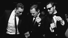"""Its a blatant manip (i.e. THIS PHOTO IS FAKE), but its too fabulous to make me care.   I like how Cumberbatch & Fassbender seem to be staring at Tom's hips like """"Hey, show us how to do that snake-hips thing all the girls go crazy for.""""   (photo manip by begitalarcos)"""