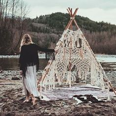 Insanely beautiful macrame teepee created by @dianerudge ✨ what a serene place to be as well  photo by @saraspectrum