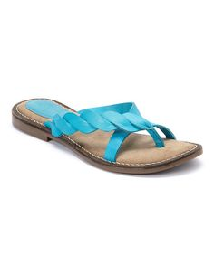 Another great find on #zulily! Turquoise Ana Ash Leather Sandal #zulilyfinds