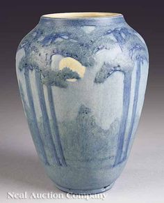 Newcomb College Art Pottery matte-glaze vase, 1919, Moon and Tall Pine design