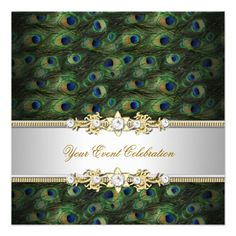 Peacock Green Blue Gold Elegant Party Personalized Announcements invitations Birthday invitations by zizzago.com