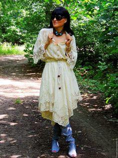 Купить Летнее БОХО платье цвета экрю (№161) - белый, платье миди, платье бохо