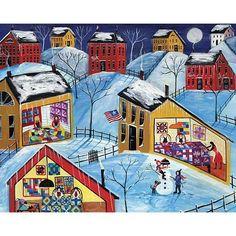 Winter Moon Quilter Village Folk Art Print 12 x 16