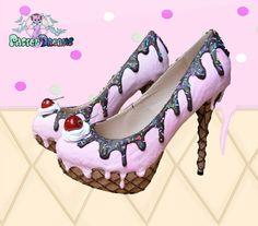 drippy icecream cupcake custom made heels shoes one of the kind, Pastel Goth, Fairy Kei, Kawaii,cute,harajuku, alternative