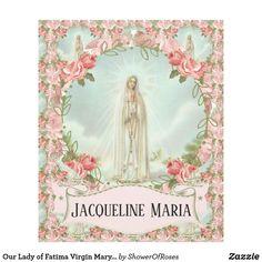 Our Lady of Fatima Virgin Mary w/Pink Roses Fleece Blanket #traditionalcatholic #fatima #catholic #christmasgift #communiongift