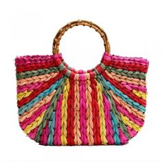 Large straw tote bag woven multi color,made of dyed corn husk straw