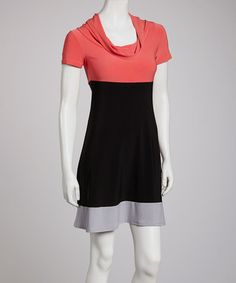 Take a look at this Orange & Black Color Block Cowl Neck Dress by Star Vixen on #zulily today!