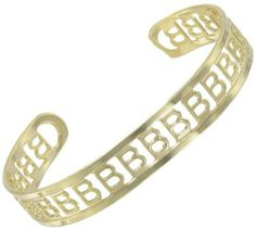 """Yellow Gold Gp Cuff Bangle Bracelet Letter Initial """"B"""" Private Label. $9.95. Gold Plated Metal. Width: 3/8"""" Length: 5 3/4"""" (excluding opening). Initial: B. Save 50%!"""