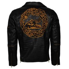 "2016 blockbuster movie ""The Suicide Squad"". Owned and worn in the movie by the character named Waylon Jones more commonly known by the name Killer Croc. Black colored Brando Style dragon jacket is an ideal fashion choice. Killer Croc, Blockbuster Movies, Character Names, Crocs, Squad, Motorcycle Jacket, Avengers, Dragon, Leather Jacket"