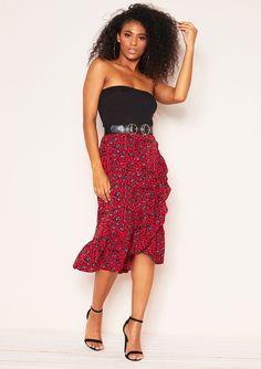 a0a75709ac4 Missyempire - Ava Red Leopard Print Frill Skirt Frill Skirts