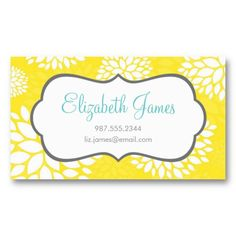 Yellow Modern Flowers Business Card