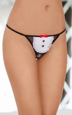 SoftLine Perizoma in Pizzo Nero da Cameriera Sexy Maid con Inserto a Forma di Grembiule Bianco