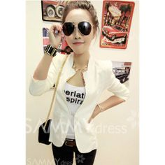 Slim Fit Metal Decorated Shrug Long Sleeve Blazers For Women