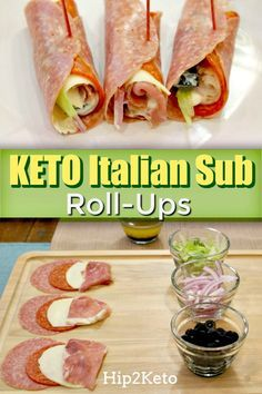 Italian Sub Keto Roll-Ups Bye, Subway! These Italian Sub Keto Roll-. Italian Sub Keto Roll-Ups Bye, Subway! These Italian Sub Keto Roll-Ups are Yum! Ketogenic Recipes, Diet Recipes, Cooking Recipes, Healthy Recipes, Cooking Food, Slimfast Recipes, Dessert Recipes, Recipes Dinner, Zoodle Recipes