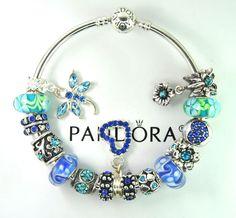 Authentic Pandora Silver bangle charm bracelet with European Charms Flower blue #Pandoralobsterbangleclaspclaw #Europeananimal
