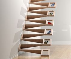 functional stairs with small storage rooms