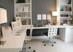Interior, Exceptional Home Office Setup Ideas With Fabulous L Shaped Desk In White Wood Material Combined Beige Table Lamp And Stylish Whtie Twins Wheels Chairs Also Extra Tall White Wood Bookcase Using Grey Wall Paint: Extraordinary Home Interior Office Setup Ideas