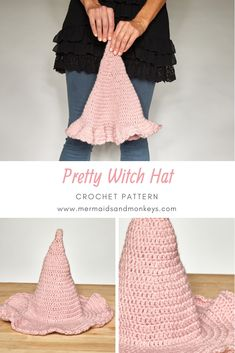 Crochet Tutorial Design If you're looking for a fun holiday project or a one of a kind costume, check out this pretty witch hat. Crochet Halloween Costume, Halloween Crochet Patterns, Crochet Costumes, Halloween Witches, Halloween Halloween, Crochet Fall, Holiday Crochet, Free Crochet, Knit Crochet