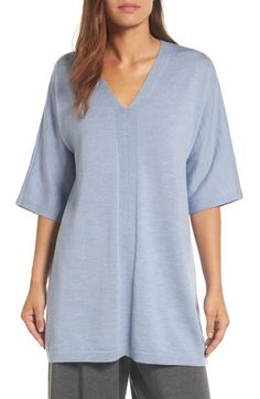 Free shipping and returns on Eileen Fisher Merino Wool Tunic Sweater at Nordstrom.com. A simple and easy V-neck pullover with kimono-cut sleeves is refined in a soft knit of Italian merino wool