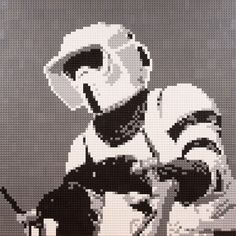 """Lego mosaic of a Scout Trooper riding a speeder-bike, from Star Wars: Return Of The Jedi. Mosaic measures 30""""x30"""" and is available from www.oxfordbrickart.com"""