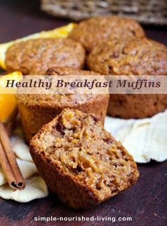 Healthy Mini Breakfast Muffins for Weight Watchers - They are kind of like carrot cake muffins, apple muffins, whole wheat muffins and oatmeal muffins all combined into one! Just 71 calories, 2 WW PointsPlus, 3 WW SmartPoints each! | Simple-Nourished-Living.com