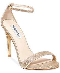 Steve Madden Women's Stecy Two-Piece Sandals. Comes in metallic gold.